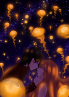 Night with Moon Jellies by kateheichou