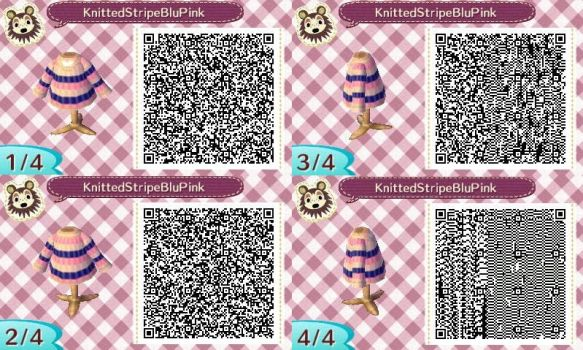 AC:NL QR Knitted Stripe BluePink Long Sleeve Shirt by SihaRakhet