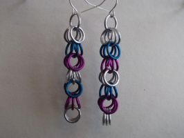 Dangle Earings Purple Blue Sil by NevinSlate