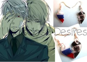 APH - Russia x Prussia - Half Heart Earrings by Undisclose--Desires