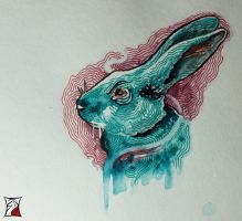 PsychedelicRabbit-AquarelleWithMarkers by Zsil-works