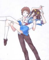 Haruhi and Kyon by LetItAllBleedOut