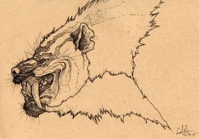 Sabretoothed Hyena by caramitten