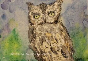 Watercolor and Ink #7 -  Owl by Oksana007