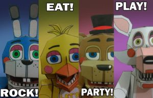 FNAF 2 Rock! Eat! Party! Play! papercraft by Adogopaper