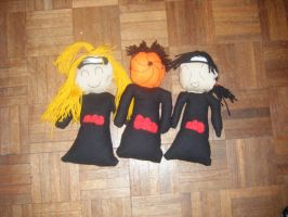Tobi, deidara and Itachi Plush by shadowed93