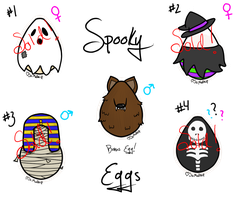 Closed! Spooky Cat Eggs + Chibis by SoMudkip