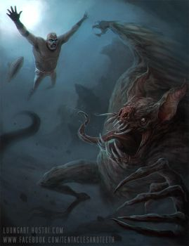 Luchador VS. Mayan Vampire Bat God Camazotz by TentaclesandTeeth