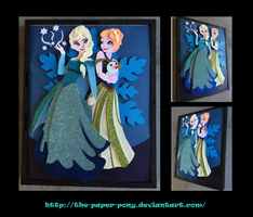 Anna and Elsa Shadowbox by The-Paper-Pony
