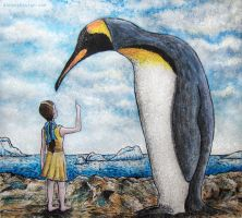 Girl and Penguin by aaronsdesign