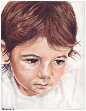 Colored pencil drawing entitled, Clara at 14 Months