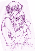 Sketch: Cassandra and Gilbert by Wilwarin-Blueberry