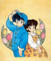 Ranma and Akane - Flowers by Arwen-chan