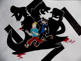 Tintin vs the big bad nazis by Ad1er
