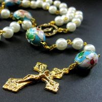 Cherry Blossom in Blue Rosary by Gilliauna