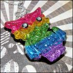 Rainbow Owl Resin Necklace by bapity88