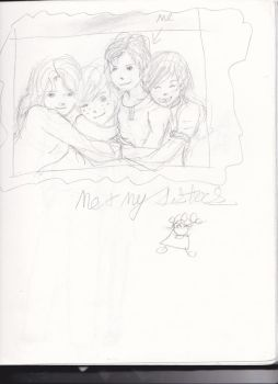 me and my sisters sketch by Msbubblely