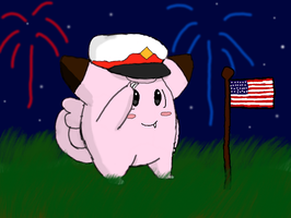 General Clefairy Salutes America by LunaClefairy