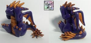 Purple and Gold Peek-A-Boo Dragon (Sold) by prismaticpearls