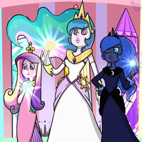 Celestia, Luna and Cadence by HeartStringsXIII