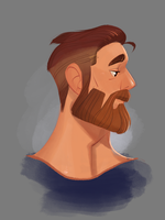 Sketch Practice - Beard profile by Crumbelievable