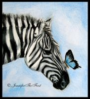 A Zebra and a Butterfly by JenniferTheFirst