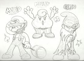 Mario RPG Sketches 2 by Kirbopher15