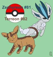 Fakemon Zephyreon And Terreon by MuseWhimsy