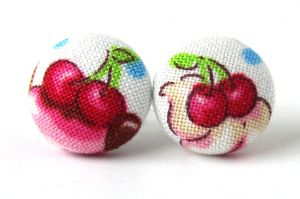 Cherry button earrings studs spring kawaii cute by KooKooCraft