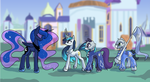 Commission: Parade 2, English Knight Ponies by DarkFlame75