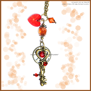 Hand Made Vintage Steampunk Red Brown Key Necklace by izka-197