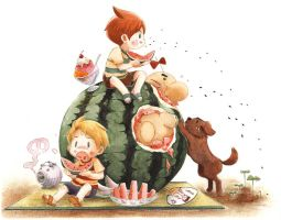MOTHER3 Watermelon and twins by ichiyon