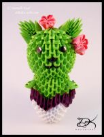 Cactus Cat  - 3D Origami - by Delinlea