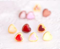 heart cookie studs by BadgersBakery
