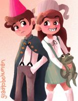 Dip and Mabel Over the Wall by eas123