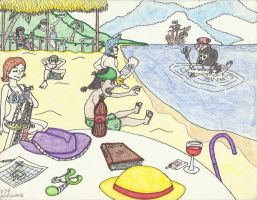 Straw Hats at the Beach by RaNdOm-game-GUY5000