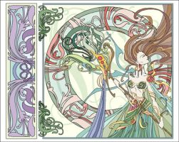 Art Nouveau Girl by blue-fusion