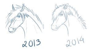Sketch comparison by Redbell9