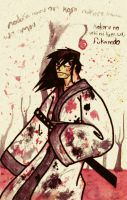samurai and cherry blossums by HybridYuki