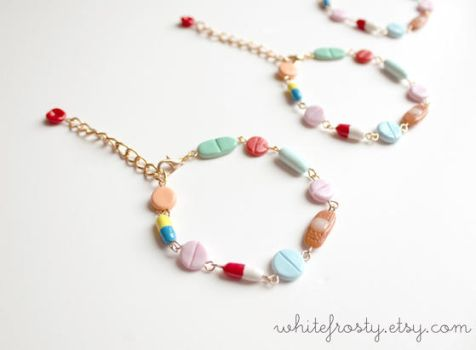Medical Creepy Cute Pills Bracelet by whitefrosty