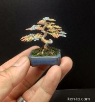 Tri color wire mame bonsai tree by Ken To by KenToArt
