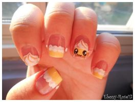 Banana Cream Pie Nails by Ebony-Rose13