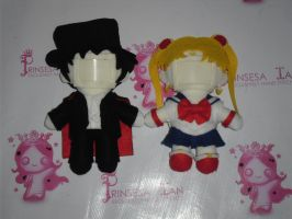 SAILOR MOON AND TUXEDO MASK TOFU PICTURE DOLLS by prinsesaian