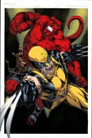 Hellboy and Wolverine Colored by ginmau