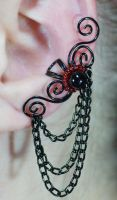 Swirly Ear Cuff with Chains by sylva