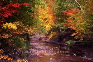 Big-Creek-Deer-Crossing_ Painting by SharonLeggDigitalArt