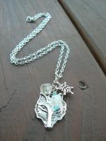 GoT: Stark Direwolf and Snowflake Silver Necklace by RSuzanne