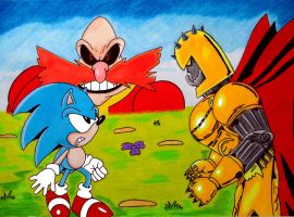 Sonic vs Commander Brutus by UltimateFrieza