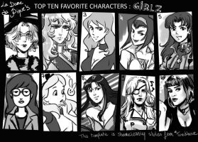 Top 10 fave female characters by LaDameDePique