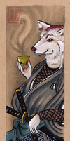 Akita Inu Samurai Bookmark Commission by DrunkenSaytr